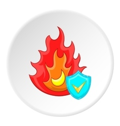 Fire protection icon cartoon style vector