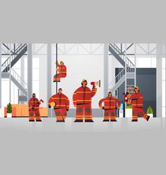 Firemen team standing together firefighters vector