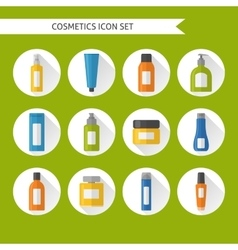 Flat style cosmetics icons set vector image