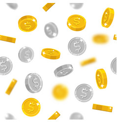 flying gold and silver dollars coins vector image
