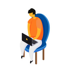 freelancer with laptop vector image