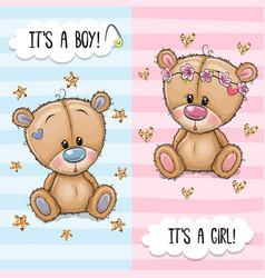 Greeting card with cute teddy bears boy and girl vector