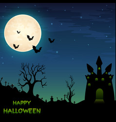 Halloween night background with castle and bats vector