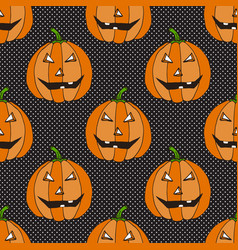 Halloween seamless pattern with funny pumpkins vector