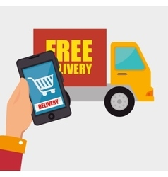 Hand hold smartphone delivery shopping truck vector