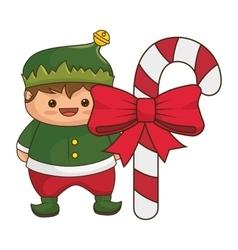 Happy merry christmas elf kawaii character vector