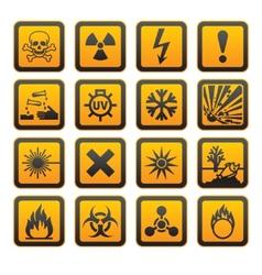 Hazard symbols orange sign vector