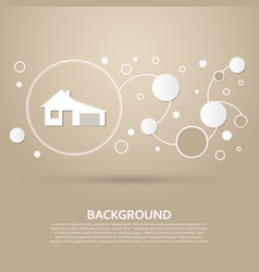 House with garage icon on a brown background vector