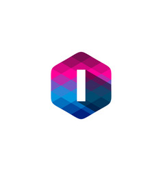 i hexagon pixel letter shadow logo icon design vector image