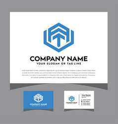 Initials avt logo with a business card vector