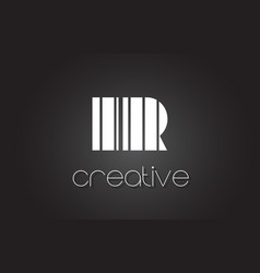 Ir i r letter logo design with white and black vector
