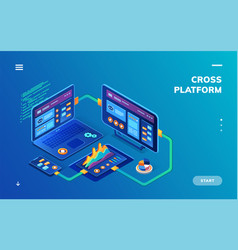 isometric notebook and smartphone tablet cloud vector image