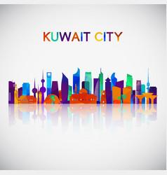 kuwait city skyline silhouette vector image