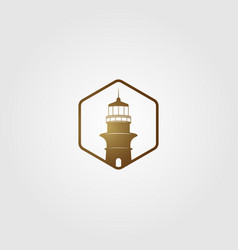 Lighthouse logo gold color vintage icon vector