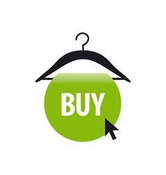 Logo hanger with a green button and cursor vector