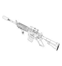 Machine gun rendering of 3d vector