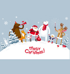 Merry christmas party in the forest vector