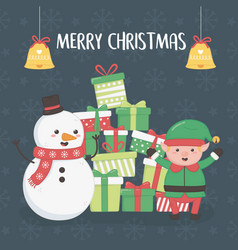 merry merry christmas card with snowman and elf vector image