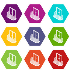 Modern balcony icons set 9 vector