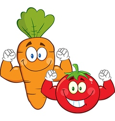 Muscly Carrot and Tomato Cartoon vector