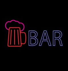 Neon beer bar vector