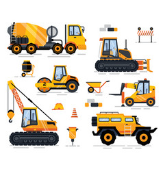 off-road car tractor and forklift build vector image
