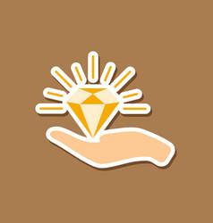 Paper sticker on stylish background diamond in vector