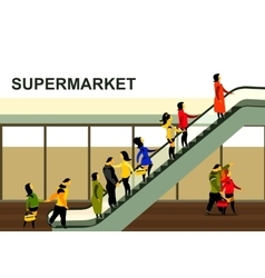 People rise on the escalator vector