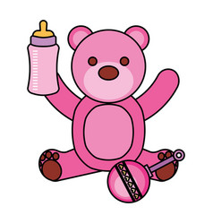 pink bear milk bottle and rattle vector image