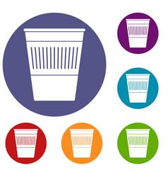 plastic office waste bin icons set vector image