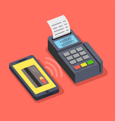 Pos terminal confirms payment made through mobile vector