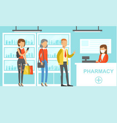 Queue people behind counter in pharmacy woman vector