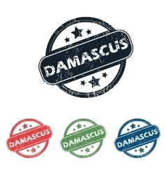 Round Damascus city stamp set vector