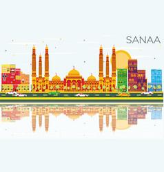 Sanaa yemen skyline with color buildings blue vector