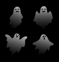 scary ghost characters set with different face exp vector image