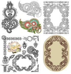 Set of calligraphic design vintage frame and vector