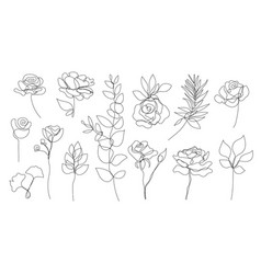 set of hand drawn single continuous line vector image