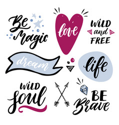 set of handwritten words and phrases with hand vector image