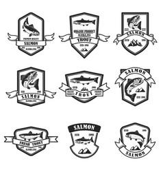 set salmon and trout emblems design element vector image