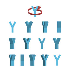 Sheet of sprites rotation of cartoon 3d letter y vector