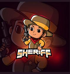 Sheriff mascot esport logo design vector