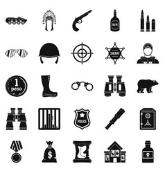 shot icons set simple style vector image