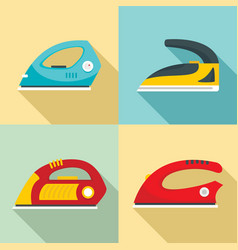 smoothing iron drag icons set flat style vector image
