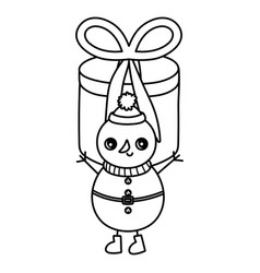 snowman gift box surprise merry christmas thick vector image