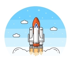 Space shuttle takes off on white background vector