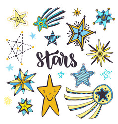 star sketches isolated set doodle hand drawn vector image