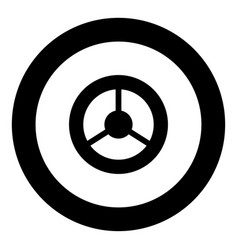 steering wheel icon black color in circle vector image