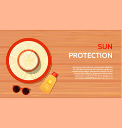 summer accessories sun protection on a wooden vector image