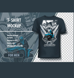 T-shirt mock-up template with snake and quadbike vector