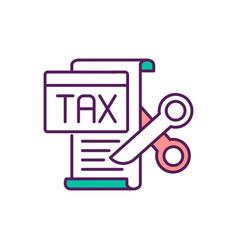 Tax cuts rgb color icon vector